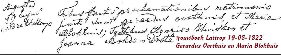 Trouwboek Lattrop 19-08-1822 Gerardus Oorthuis en Maria Blokhuis