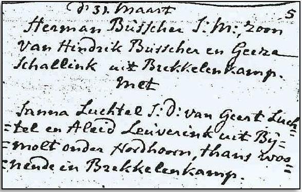 Trouwboek Ootmarssum 21 april 1793