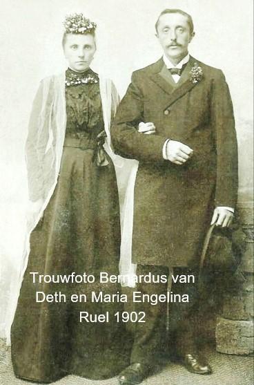 Trouwfoto Bernardus van Deth en Maria Engelina Ruël Denekamp 1902
