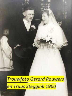 Trouwfoto Gerard Rouwers en Truus Steggink op Weghuis in Klein Agelo