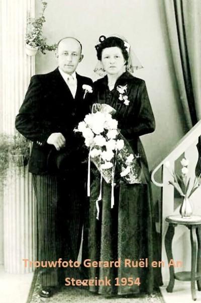 Trouwfoto Gerard Ruël en An Steggink 1954