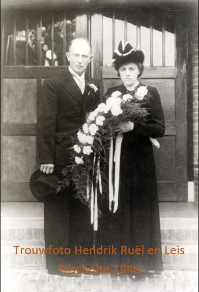 Trouwfoto Hendrik Ruël en Leis Tijscholte 1949