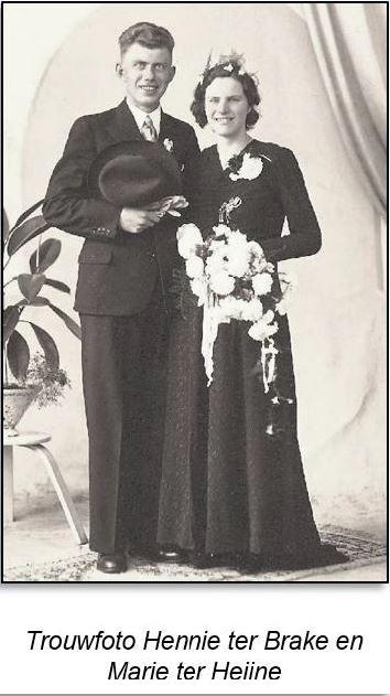 Trouwfoto Hendrikus Bernardus (Henk) ter Brake en Maria (Marie) ter Heyne