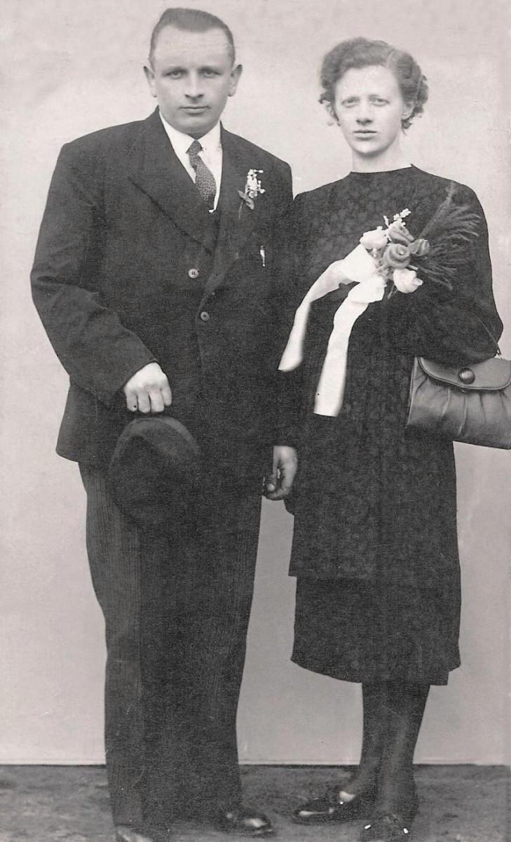 Trouwfoto Hein Veldhuis en Marie Reerink 1943