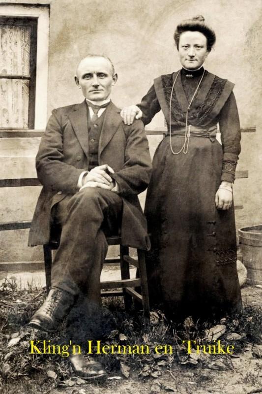 Trouwfoto Herman Wilmes en Truike Rerink Kapelstraat 12 Ootmarsum 1912
