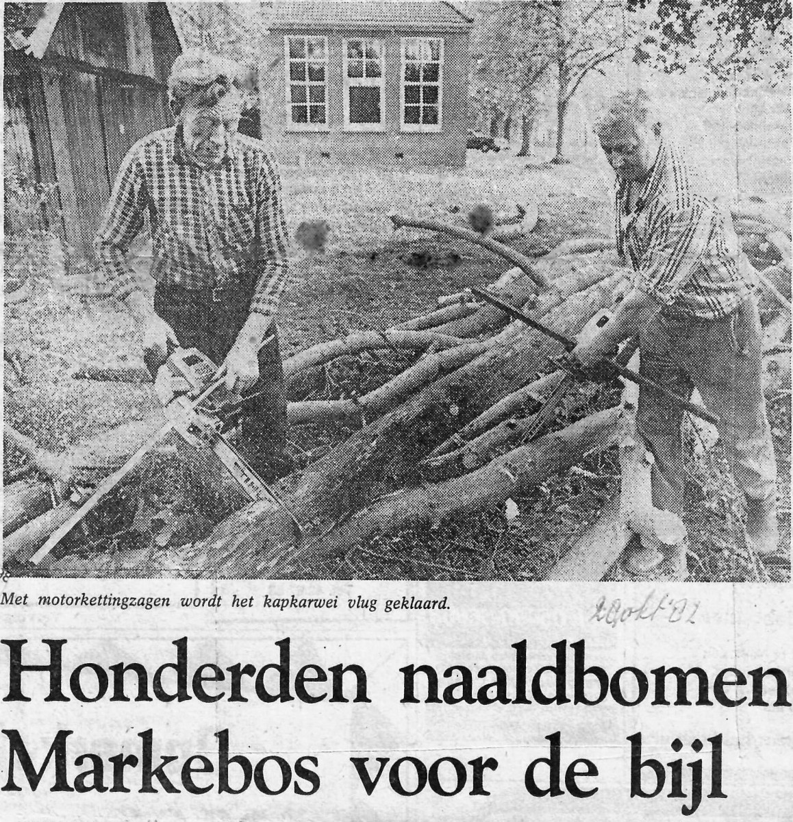 Uit de krant 28-10-1982 (2) met L Jan Rammelkamp (hout gekocht door Bekhuis in Ootmarsum)