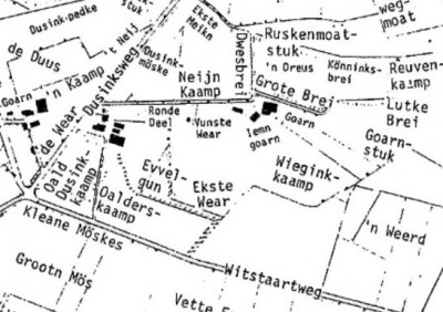 Veldnamenkaart Broekhuis Klein Agelo