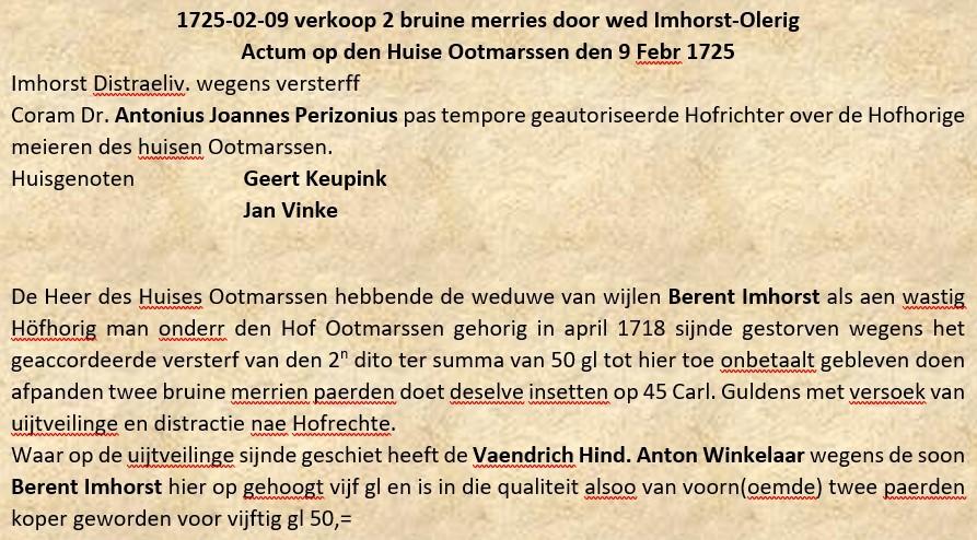 Verkoop 2 bruine merries door wed Imhorst-Olerig Tilligte 09-02-1725