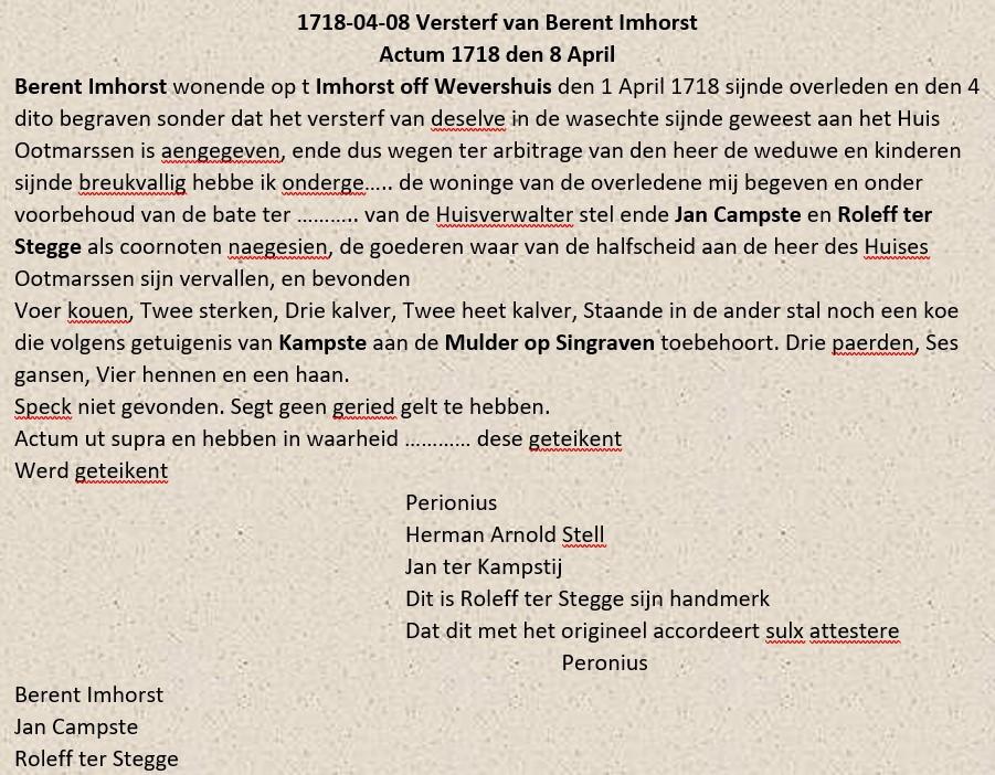 Versterf van  Berent Imhorst Tilligte 08-04-1718