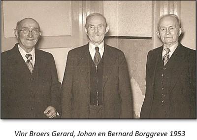 Vlnr Broers Gerard, Johan en bernard Borggreve foto Tilligte 1953