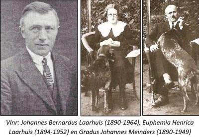 Vlnr Johannes Bernardus Laarhuis (1890-1964), Euphemia Henrica Laarhuis (1894-1952) en Gradus Johannes Meinders (1890-1949) Lattrop