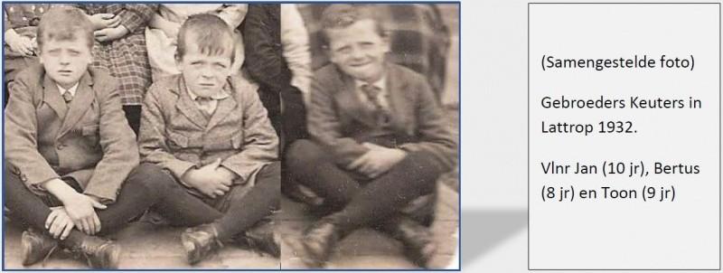 Vlnr Jan (10), Bertus (8) en Toon (9) Keuters Lattrop 1932