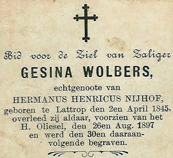 Bidprentje Wolbers Gesina ev Nijhof Hermanus Henricus Lattrop 1845-1897