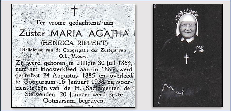 Zuster Maria Agatha (Henrica) Rippert Tilligte 1864-1938