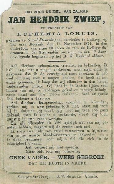 Bidprentje Zwiep Jan Hendrik ev Lohuis Euphemia Noord-Deurningen 1794 Lattrop 1875